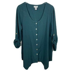 Soft Surroundings Tunic L Green Lagenlook Button